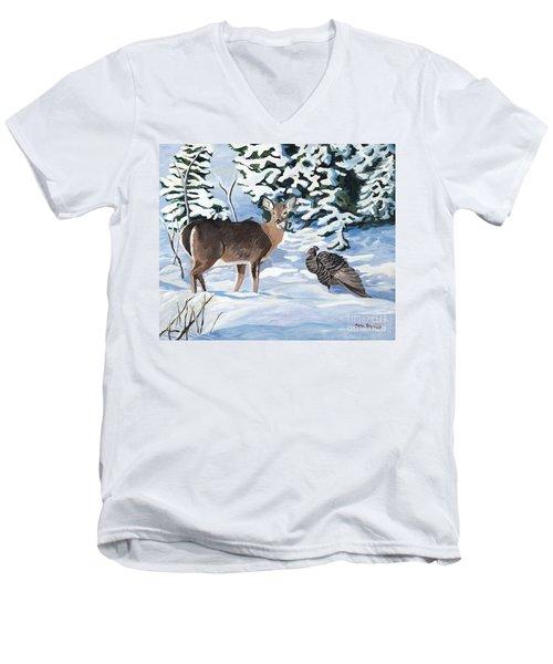 Woodland Creatures Meet Men's V-Neck T-Shirt