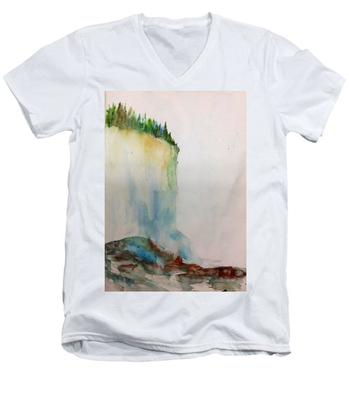 Woodland Trees On A Cliff Edge Men's V-Neck T-Shirt