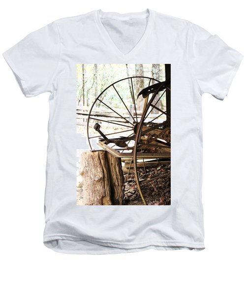 Men's V-Neck T-Shirt featuring the photograph Woody And Wheely by Faith Williams