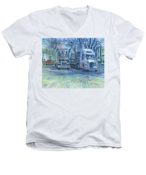 Men's V-Neck T-Shirt featuring the painting Work Buddies by Donald Maier