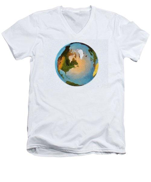 World 3d Globe Men's V-Neck T-Shirt by Georgi Dimitrov