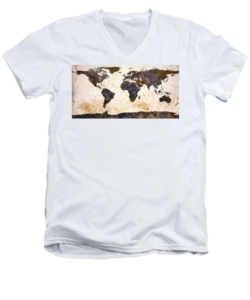World Map Abstract Men's V-Neck T-Shirt