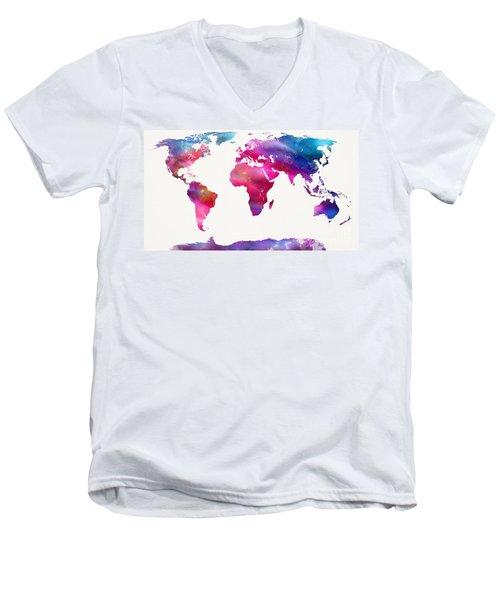 World Map Light  Men's V-Neck T-Shirt by Mike Maher
