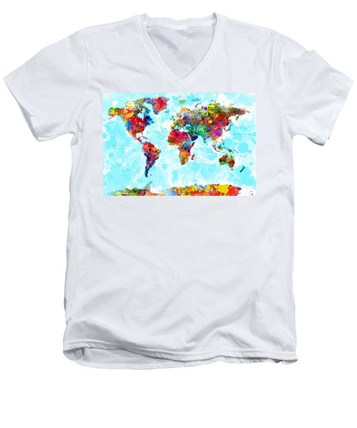 World Map Spattered Paint Men's V-Neck T-Shirt