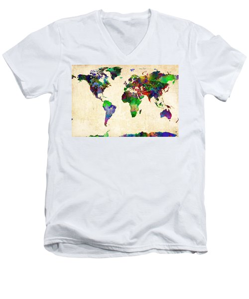 World Map Watercolor Men's V-Neck T-Shirt