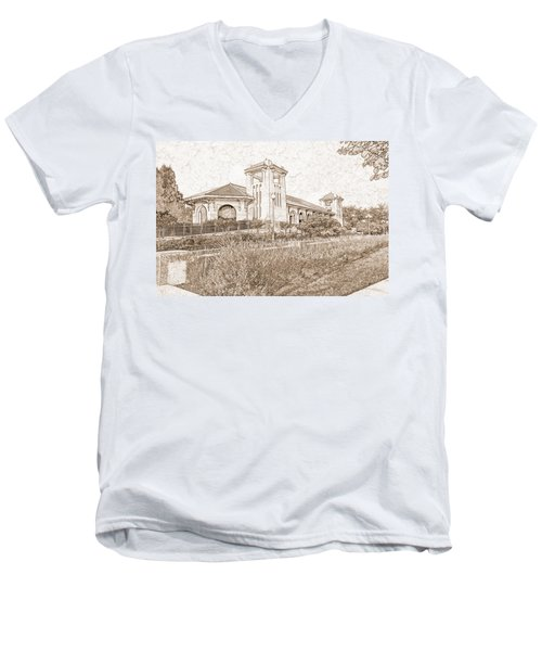World's Fair Pavilion At Forest Park St Louis Men's V-Neck T-Shirt by Greg Kluempers