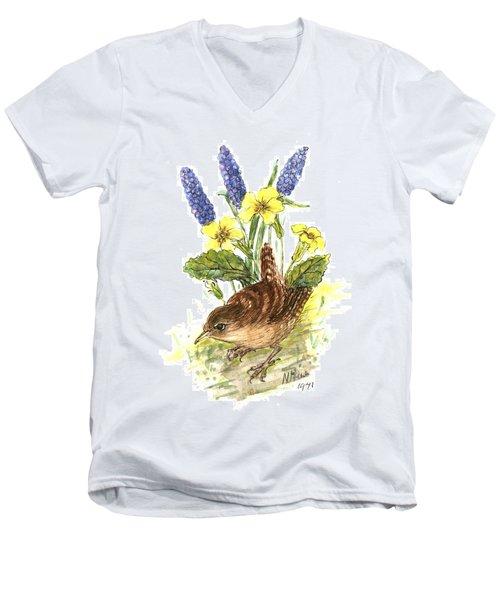 Wren In Primroses  Men's V-Neck T-Shirt by Nell Hill