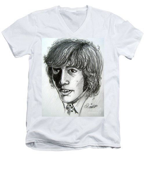 Men's V-Neck T-Shirt featuring the drawing Robin Gibb by Patrice Torrillo
