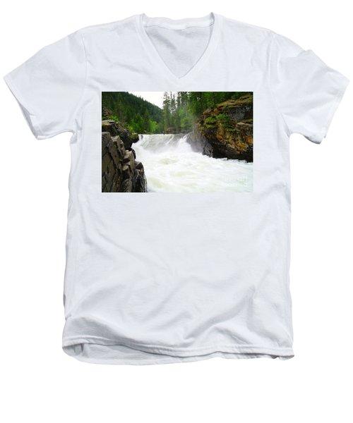 Yaak Falls Men's V-Neck T-Shirt by Jeff Swan