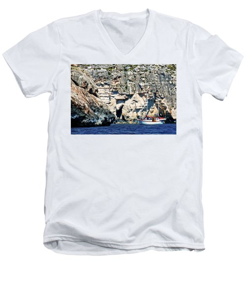 Yacht In Sea Near Popeye Village Men's V-Neck T-Shirt