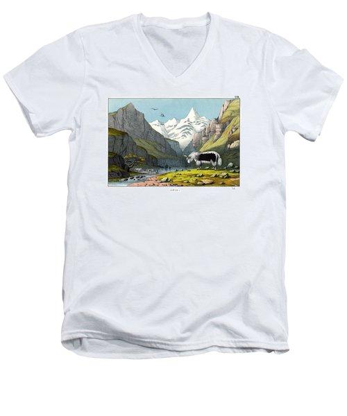 Yak Men's V-Neck T-Shirt by Splendid Art Prints