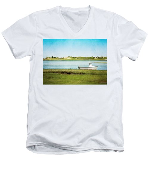 Men's V-Neck T-Shirt featuring the photograph Yarmouth Port Fishing Boat In Green And Blue by Brooke T Ryan