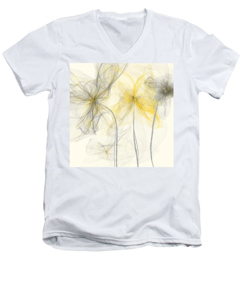 Yellow And Gray Flowers Impressionist Men's V-Neck T-Shirt
