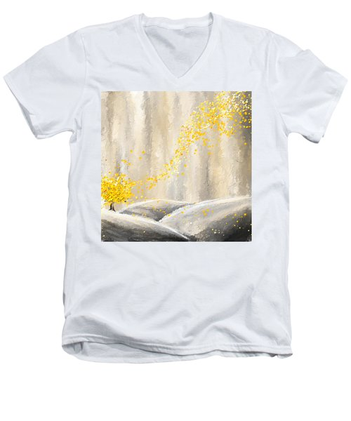 Yellow And Gray Landscape Men's V-Neck T-Shirt