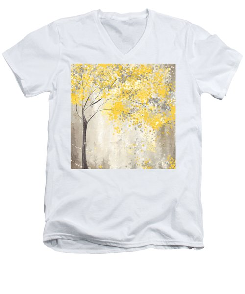 Yellow And Gray Tree Men's V-Neck T-Shirt