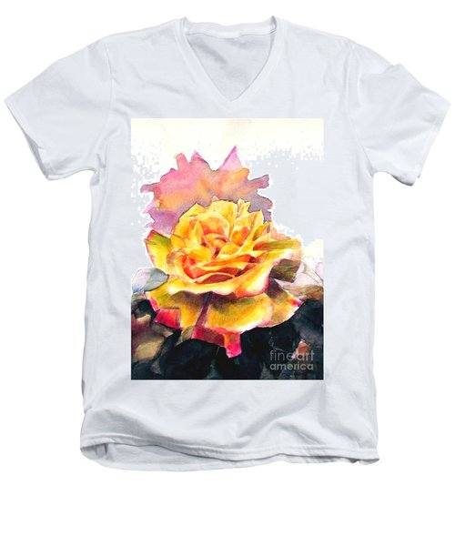 Men's V-Neck T-Shirt featuring the painting Yellow Rose Fringed In Red by Greta Corens