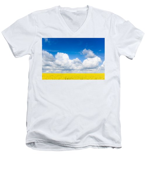 Yellow Mustard Fields Under A Deep Blue Sky Men's V-Neck T-Shirt