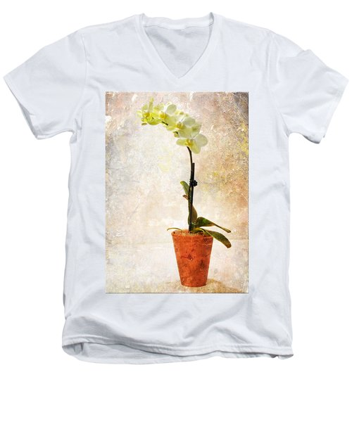 Men's V-Neck T-Shirt featuring the photograph Yellow Orchid by Patti Deters