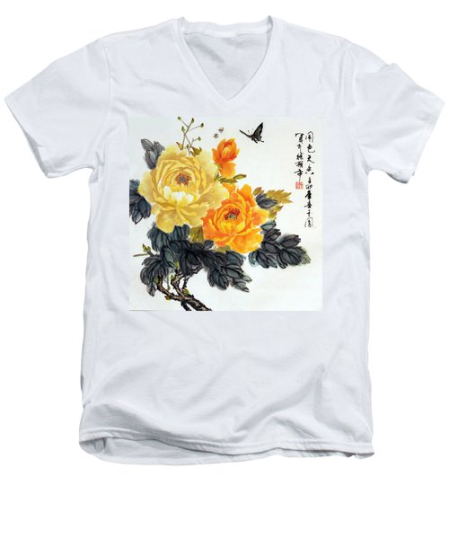 Men's V-Neck T-Shirt featuring the photograph Yellow Peonies by Yufeng Wang