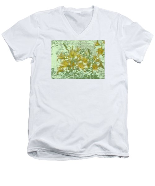 Men's V-Neck T-Shirt featuring the photograph Yellow Stargazers On Soft Green by Tom Wurl