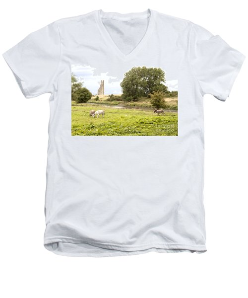 Yellow Steeple Amidst Meath Ireland Men's V-Neck T-Shirt