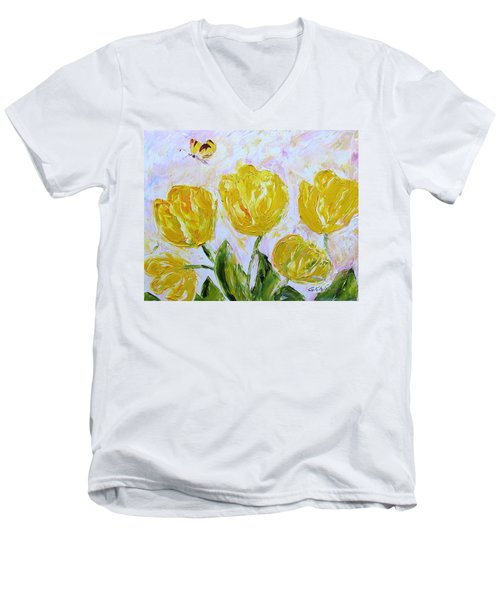 Yellow Tulips And Butterfly Men's V-Neck T-Shirt