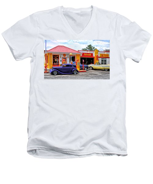 Yesterday's Shell Station Men's V-Neck T-Shirt by Michael Pickett