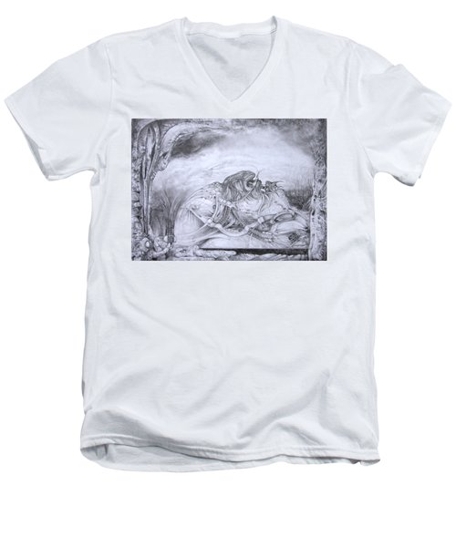 Men's V-Neck T-Shirt featuring the drawing Ymir At Rest by Otto Rapp