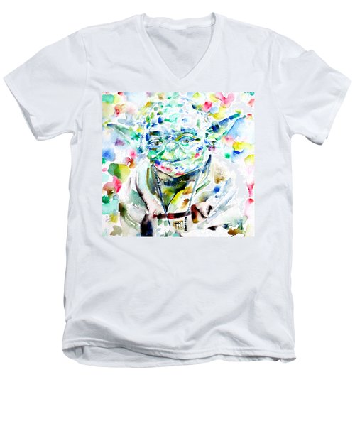 Yoda Watercolor Portrait.1 Men's V-Neck T-Shirt by Fabrizio Cassetta