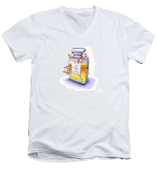 Yorkie Chanel Crazies Men's V-Neck T-Shirt