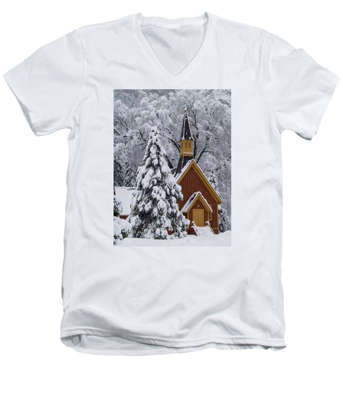 Yosemite Chapel Men's V-Neck T-Shirt by Bill Gallagher