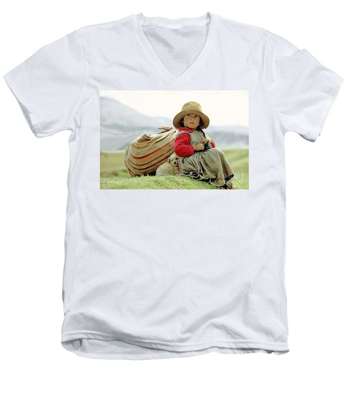 Young Girl In Peru Men's V-Neck T-Shirt