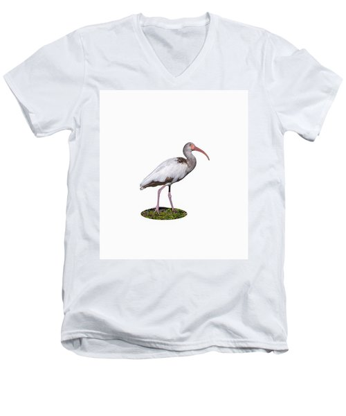Men's V-Neck T-Shirt featuring the photograph Young Ibis Gazing Upwards by John M Bailey