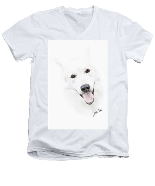 Men's V-Neck T-Shirt featuring the digital art Young Wolf by Erika Weber