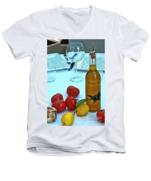 Men's V-Neck T-Shirt featuring the photograph Your Table Is Ready by Allen Beatty