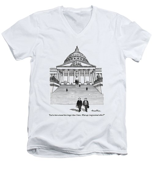 You've Been Around Here Longer Than I Have. What Men's V-Neck T-Shirt by J.B. Handelsman