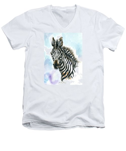 Zebra 1 Men's V-Neck T-Shirt by Mary Armstrong