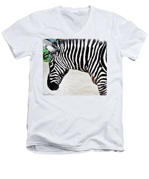 Zebra Alcohol Inks  Men's V-Neck T-Shirt