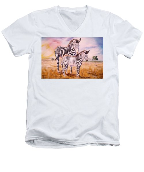 Zebra And Foal Men's V-Neck T-Shirt