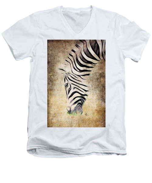 Zebra Fade Men's V-Neck T-Shirt by Steve McKinzie