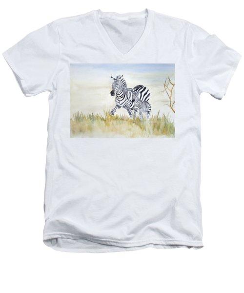 Zebra Family Men's V-Neck T-Shirt by Laurel Best