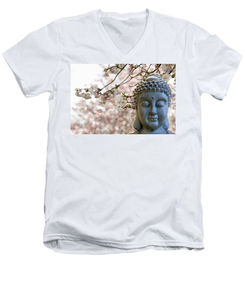 Zen Buddha Meditating Under Cherry Blossom Trees Men's V-Neck T-Shirt