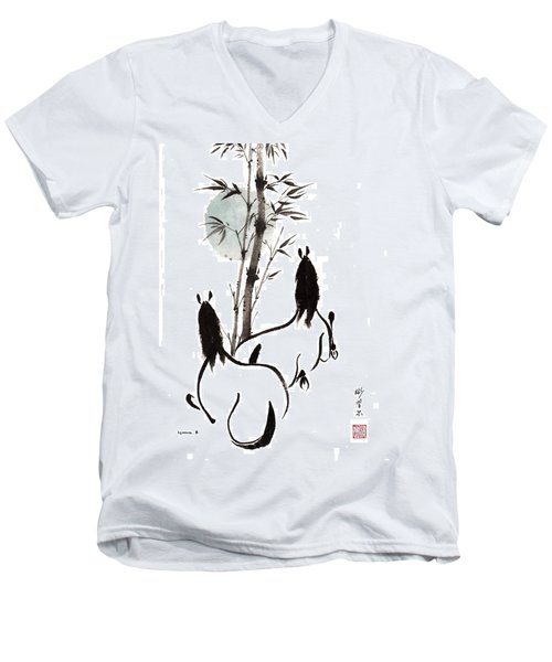 Men's V-Neck T-Shirt featuring the painting Zen Horses Moon Reverence by Bill Searle