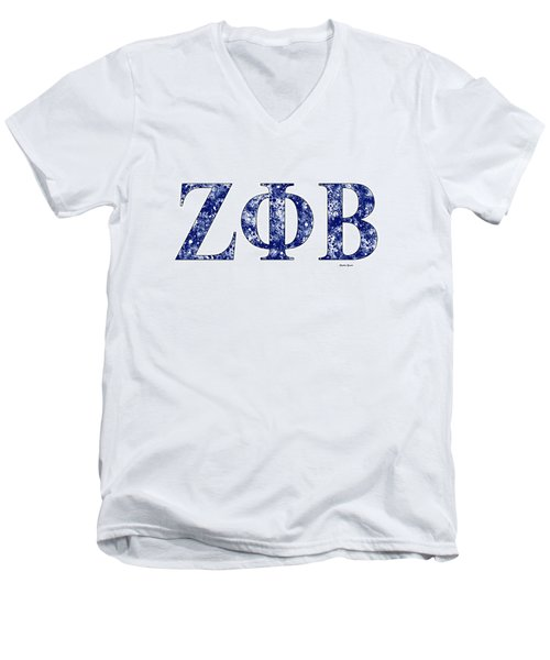 Men's V-Neck T-Shirt featuring the digital art Zeta Phi Beta - White by Stephen Younts