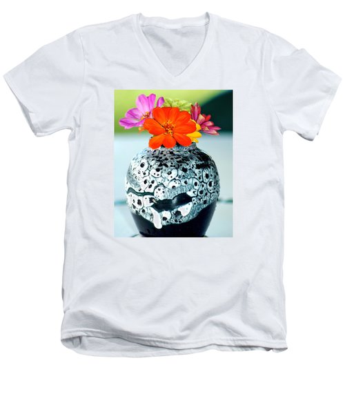 Men's V-Neck T-Shirt featuring the photograph Zinnia In Vase by Lehua Pekelo-Stearns