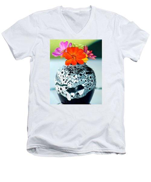 Zinnia In Vase Men's V-Neck T-Shirt by Lehua Pekelo-Stearns