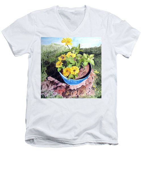 Men's V-Neck T-Shirt featuring the painting Zinnia On A Tree Stump by Sandy McIntire