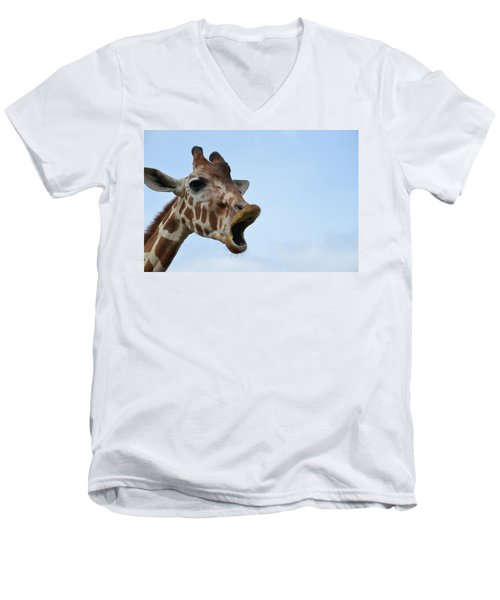 Zootography Giraffe Honking Men's V-Neck T-Shirt