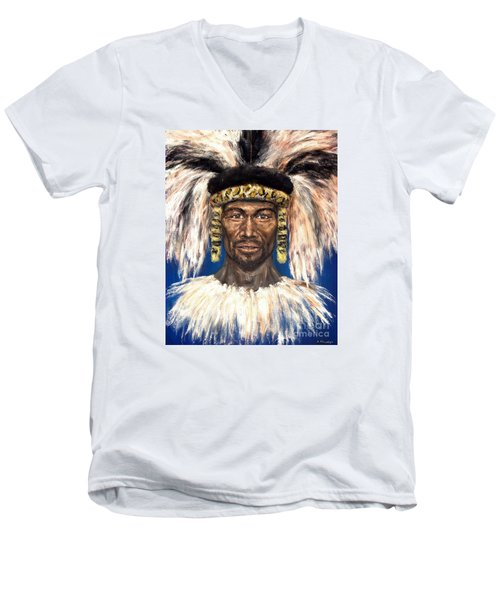 Men's V-Neck T-Shirt featuring the painting Zulu Warrior by Arturas Slapsys