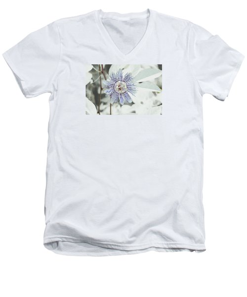 Men's V-Neck T-Shirt featuring the photograph  Passion Flower On White by Tom Wurl